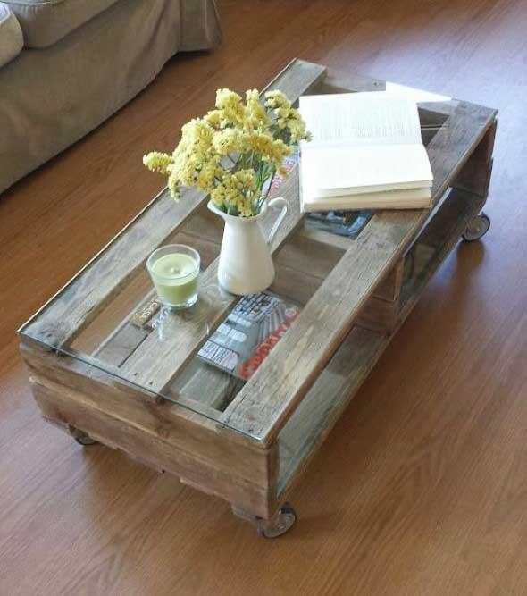 Mesinha para salas de estar feitas de paletes e caixotes