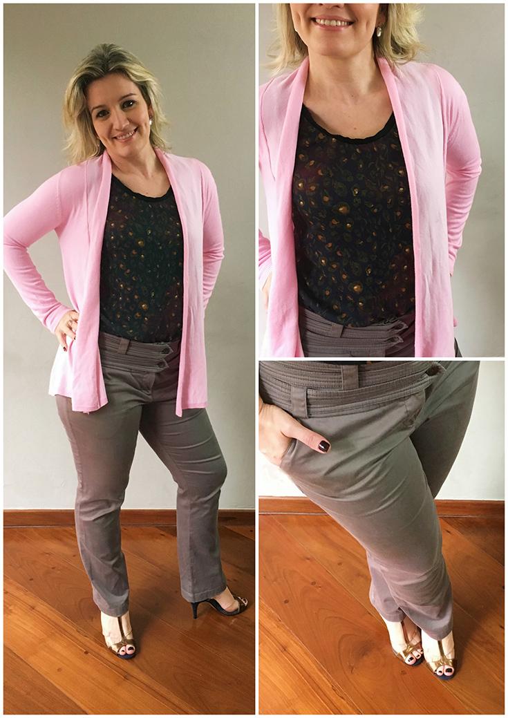 blusa estampada calça cinza e cardigã rosa