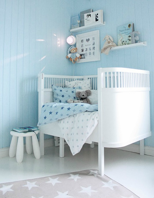Habitaciones de bebs pintadas de color azul claro  DECORACIN BEBS