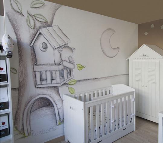 Murales de papel efecto pintado a mano  DECORACIN BEBS