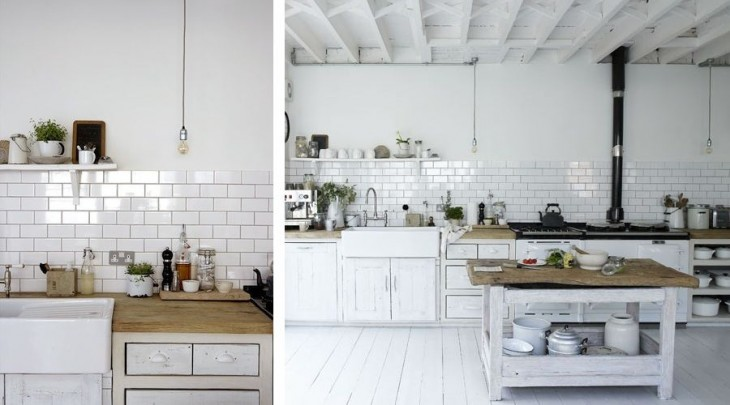 cocina con azulejos blancos me encantan  decoracin chic