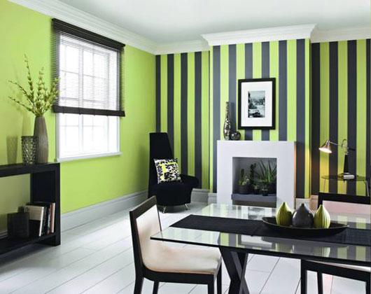 Diseos de interiores con detalles en color verde