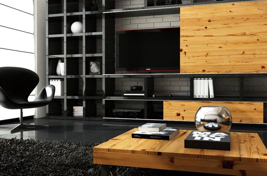 Muebles modernos de televisin en madera  Decoracion de Interiores