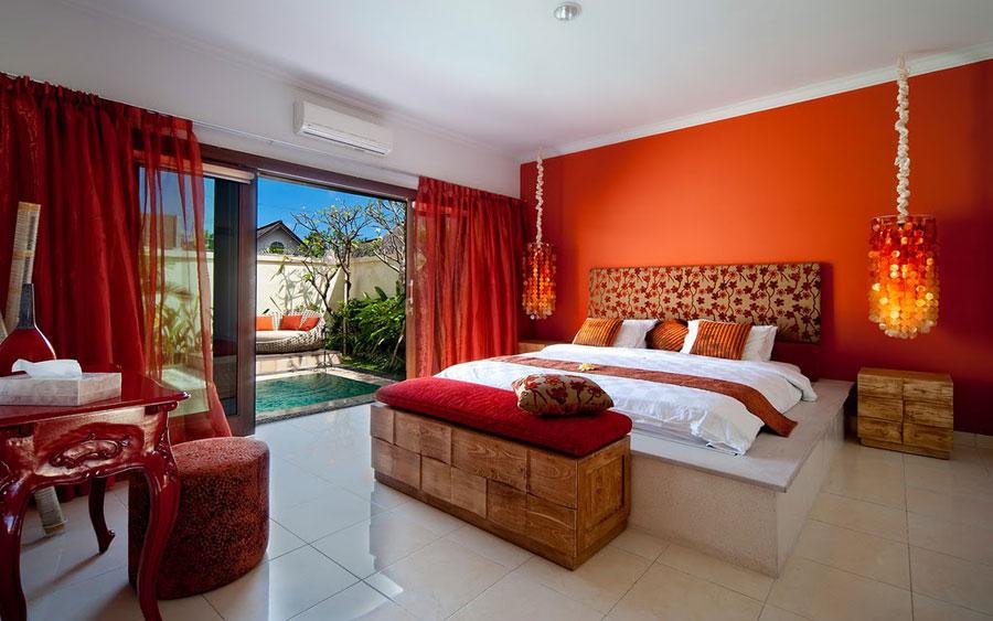 Diseos de dormitorios y salas con detalles en naranja