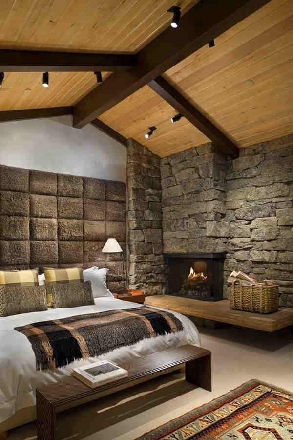 Decoracin de dormitorios con paredes de piedra