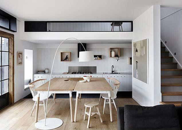 Blanco negro y madera para decorar cocinas  Decoracion
