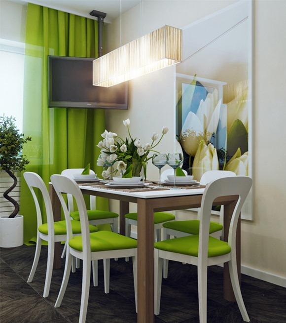 Comedores modernos en color verde  Decoracion de Interiores