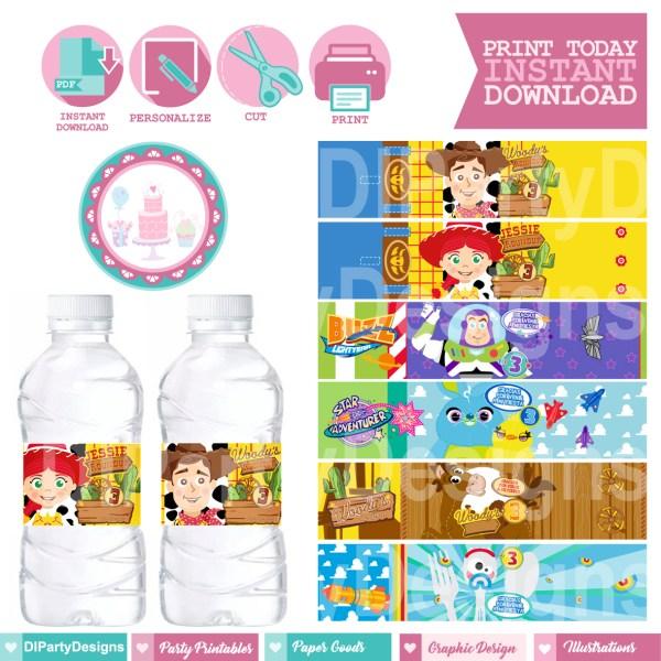 Etiqueta agua Toy Story 4