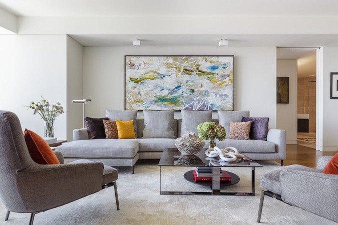 contemporary living room art wall clock a modern luxury condo interior design in san francisco decor aid color pillows 2 3x