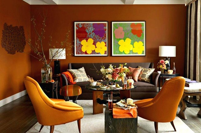 brown paint colors for living room floor tile designs rooms the 14 best trends to try decor aid burnt orange