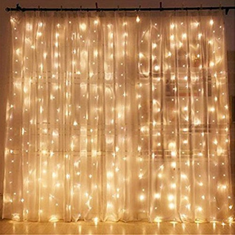 mood lights with a sheer patterned curtain