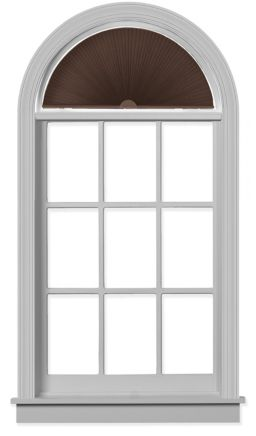 pleated arch for half moon designed windows