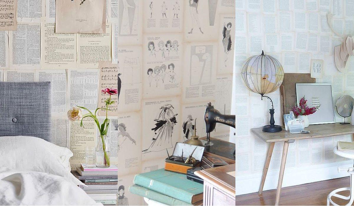 Empapelar la pared con hojas de libros FOTOS