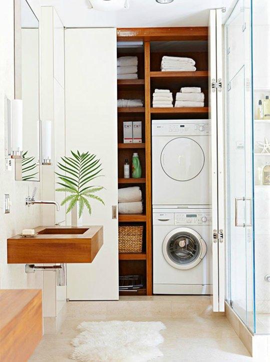 La lavadora se puede colocar en el bao