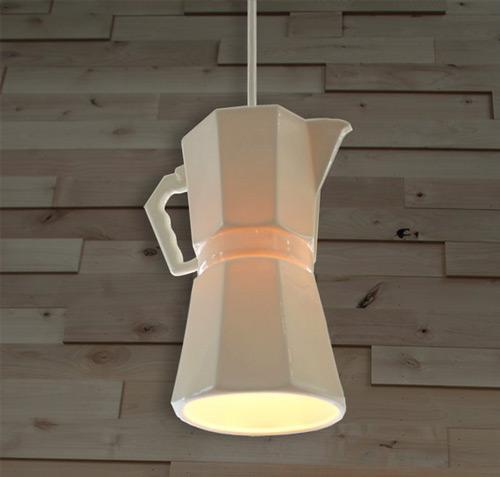 Lmparas originales iluminacin de una cafetera