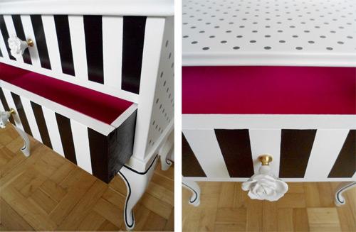 Muebles reciclados antes y despus de una mesita restaurada