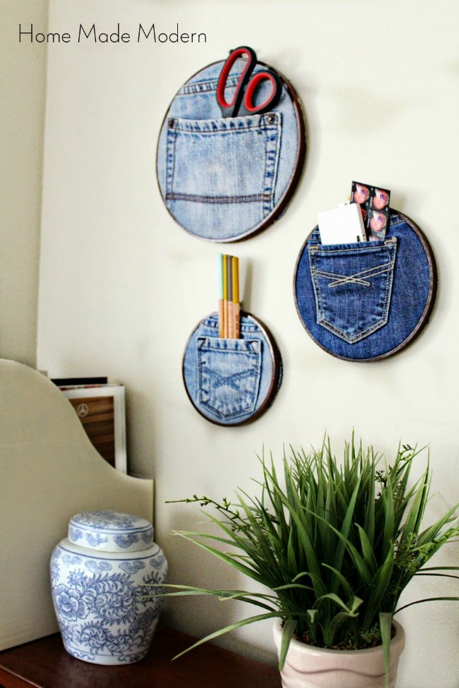 Wall organizers with jeans