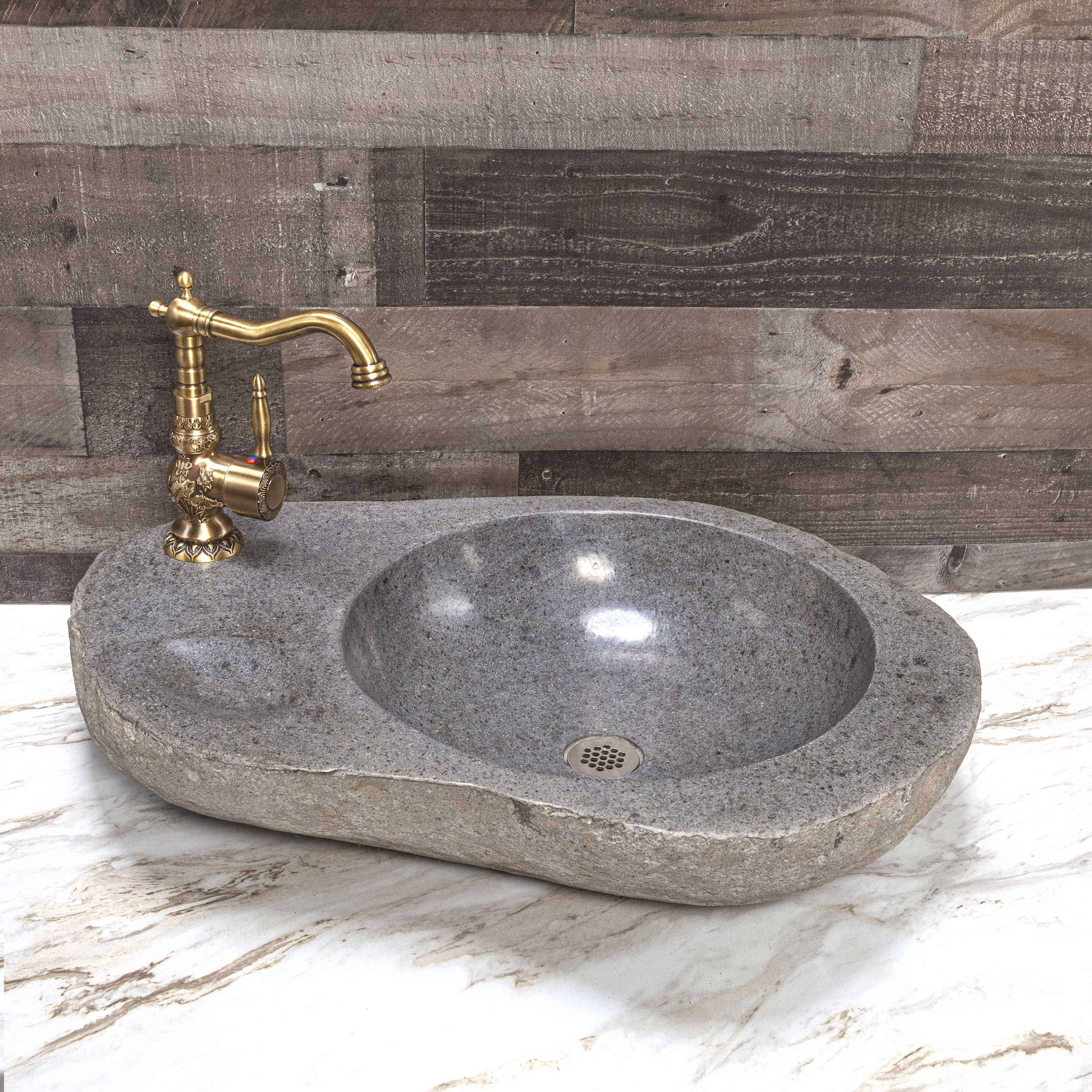 river stone vessel sink with soap holder and faucet hole decora loft