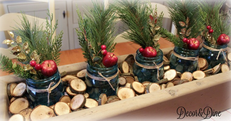 DIY Christmas Mason Jar Centerpiece