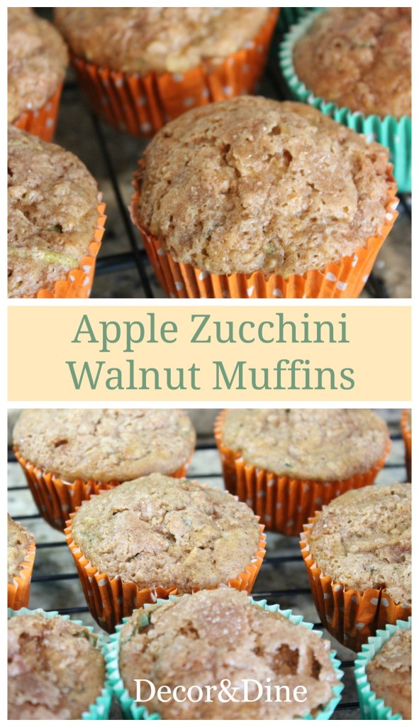 Apple Zucchini Walnut muffins