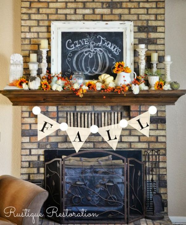 Fall Mantel, give thanks