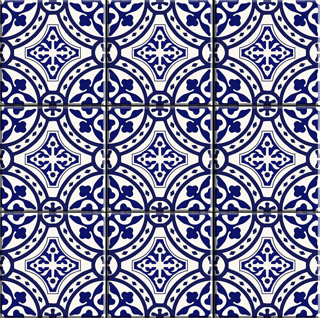 Navy and white sticker tiles