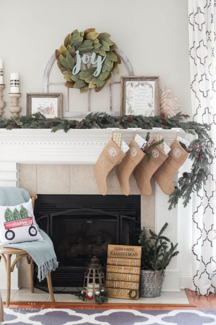 Magnolia wreath Christmas mantel