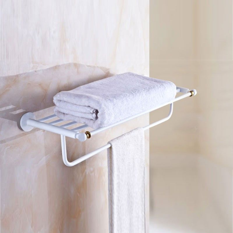 Towel Shelf  Bar 24 Inch  White Painting Brass 80300D