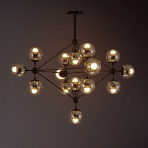 15-light Iron Built Black Vintage Glass Ball Pendant Light