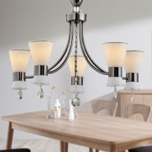 5-light Black Iron Modern Chandelier With Glass Shades