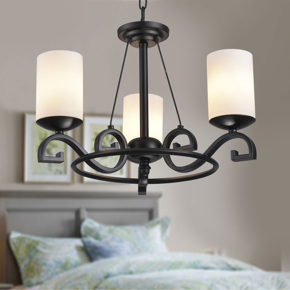 3Light Black Wrought Iron Chandelier with Glass Shades