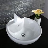 Decoraport White Round Ceramic Above Counter Vessel Sink ...