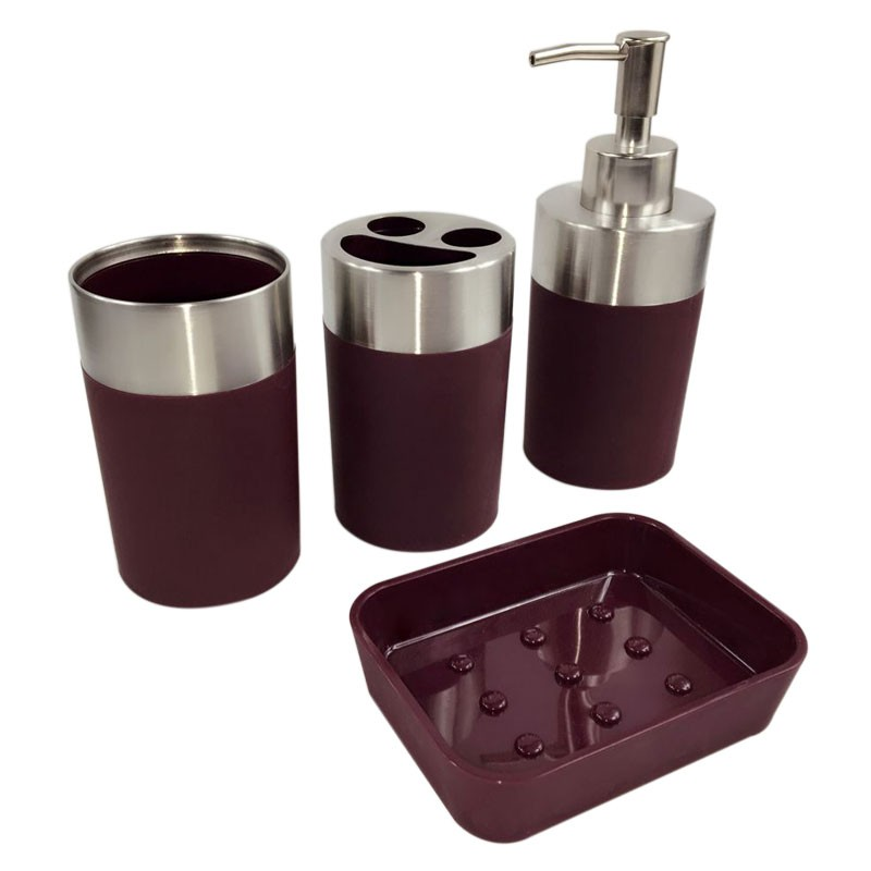 4Piece Bathroom Accessory Set Dark Red DKST022