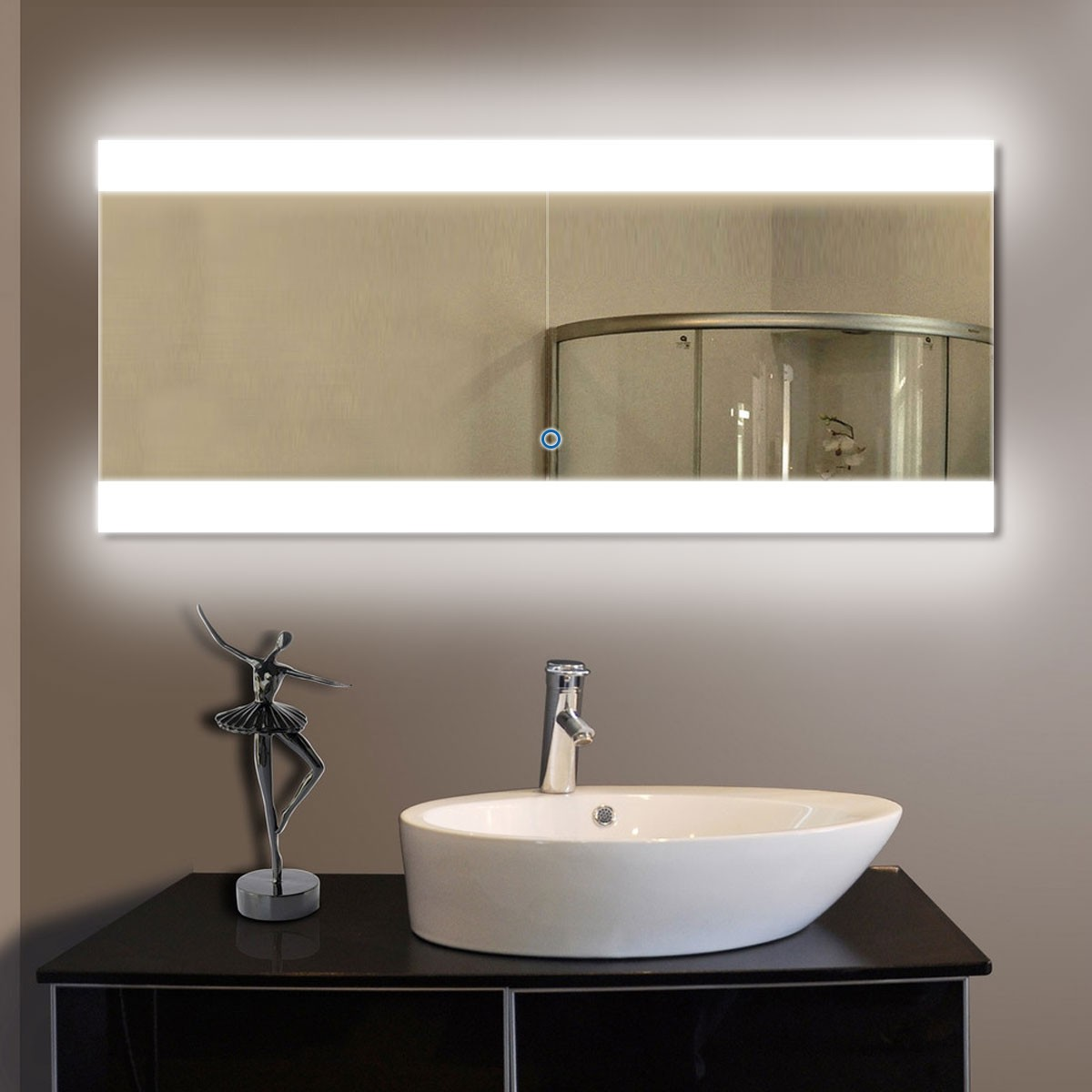 80 x 36 In Horizontal LED Bathroom Silvered Mirror with Touch Button DKODT032  Decoraport