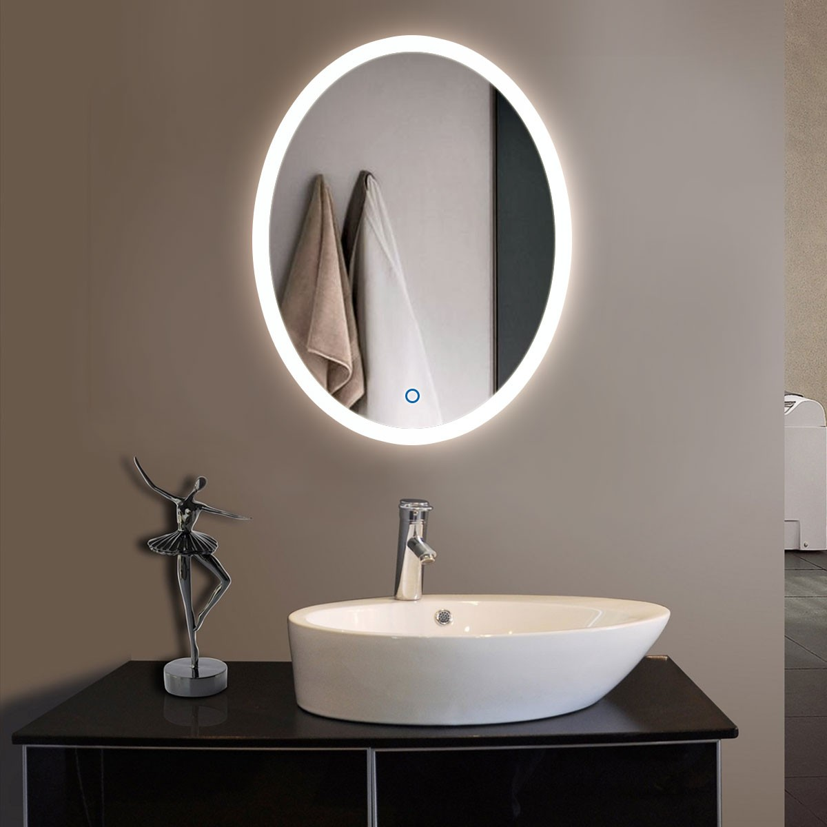24 x 32 In Vertical Oval LED Bathroom Silvered Mirror with