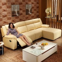 Yellow Recliner Sectional Sofa in Leather with Right ...