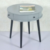 Round Wood Coffee Table With Drawer