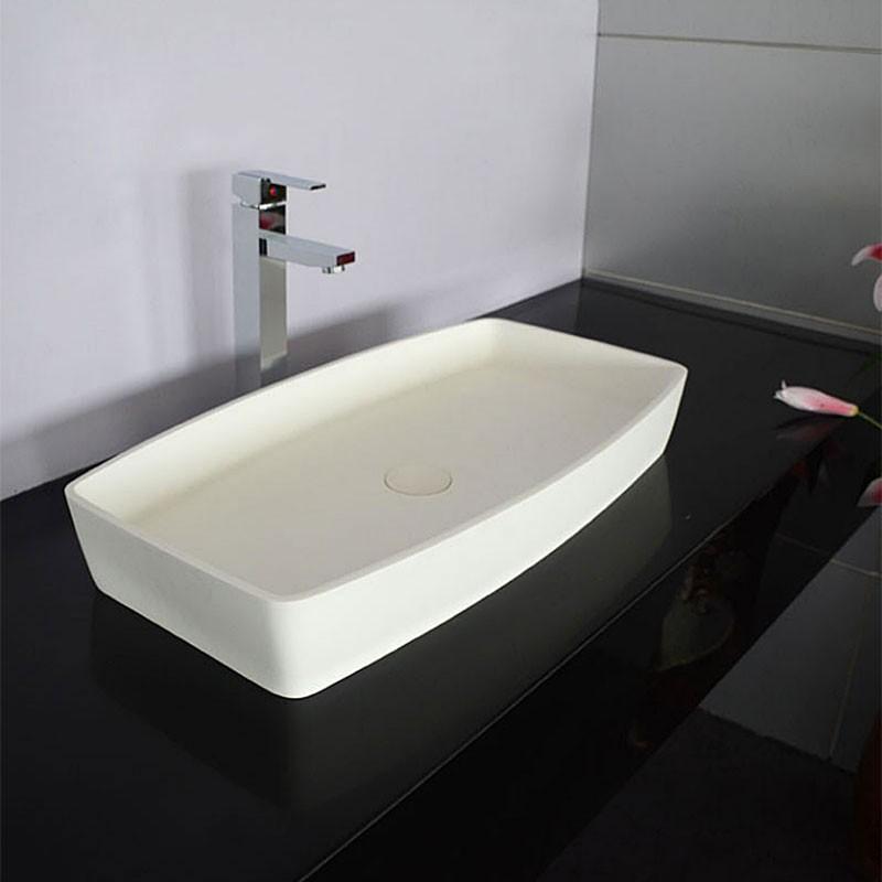 White Rectangular Artificial Stone Above Counter Bathroom