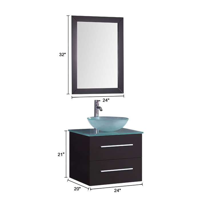 Ensemble 3 pices avec vanit 24 lavabo et miroir assorti DKT9190SET  Decoraport Canada