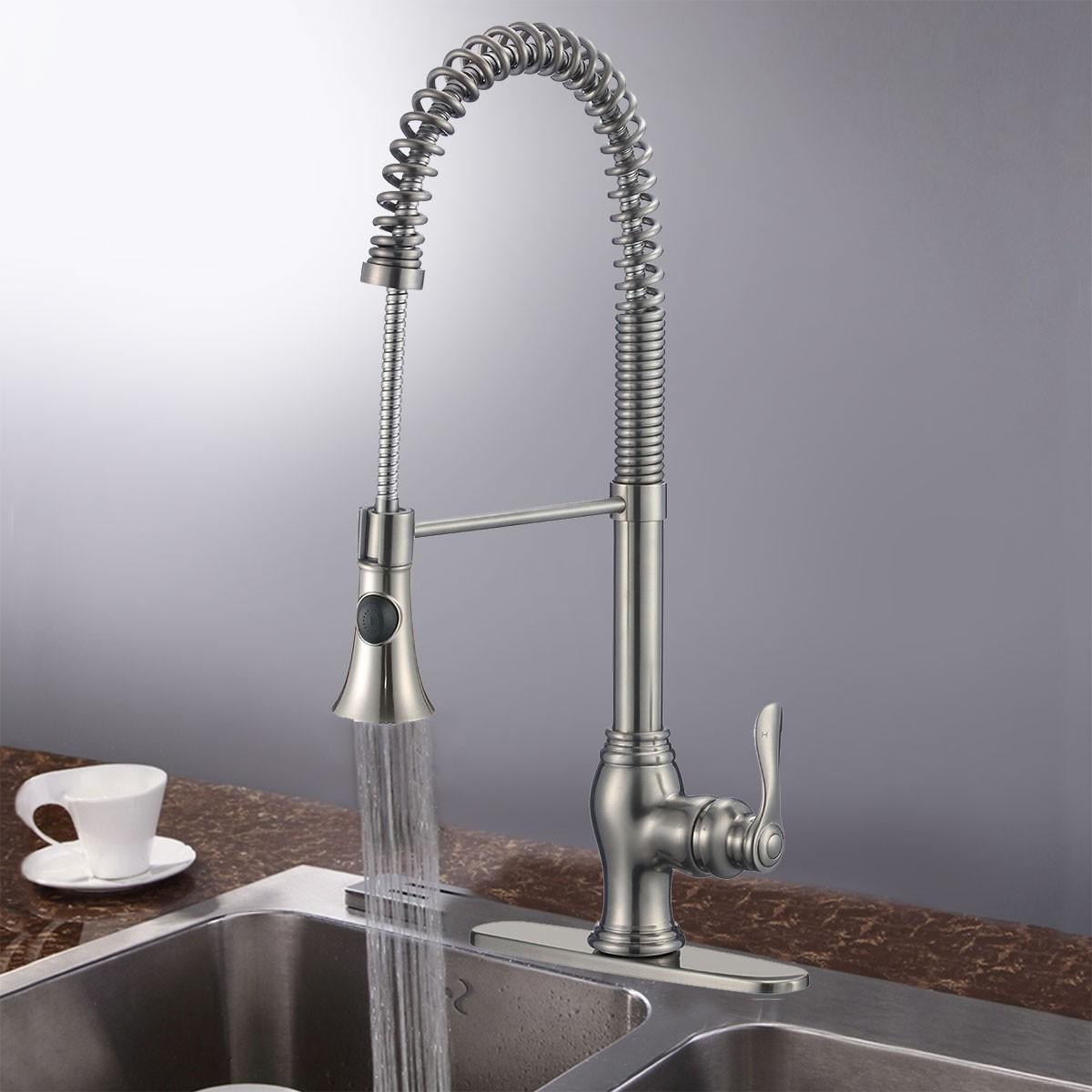 brushed nickel kitchen faucet with sprayer backsplash glass tile finished brass pull out