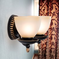 2-Light Black Wrought Iron Wall Sconce with Glass Shades ...