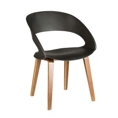 Black Plastic Chair With Wooden Legs Ivory Ruched Covers Molded In Wood Set Of 4 Ymg 9307b
