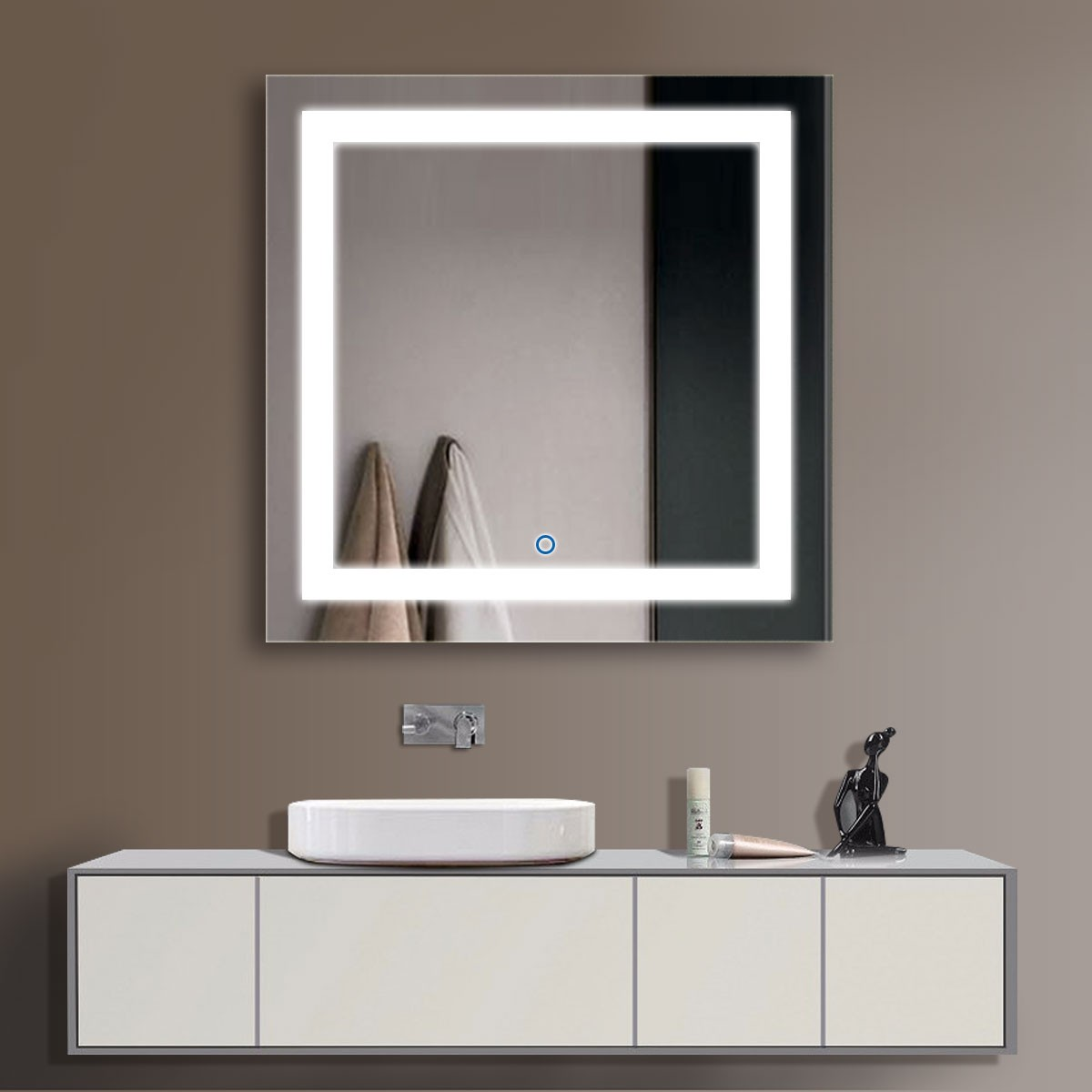 36 x 36 In and Vertical LED Bathroom Mirror Touch Button