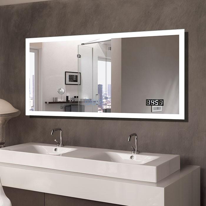55 x 28 In Horizontal Clock LED Bathroom Mirror with Anti