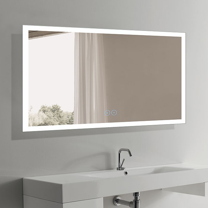 60 x 36 In Horizontal LED Bathroom Mirror with Antifog