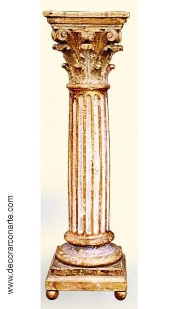 Columna Tallada en Madera Acabado Valladolid 27x27x93