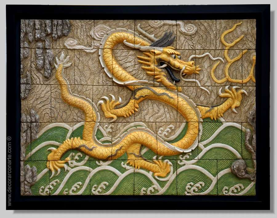 bas relief chinese dragon
