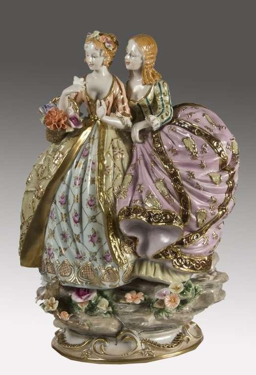 Porcelana Dos Damas 30x20x40cm  Reproducciones de arte
