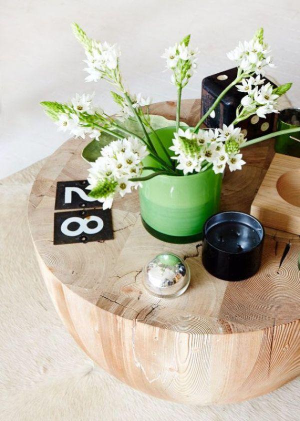 Mesa auxiliar circular de madera