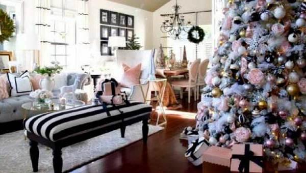 Decoración navideña con mucho glamour